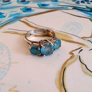Vintage EMA Blue Topaz Sterling Silver Ring
